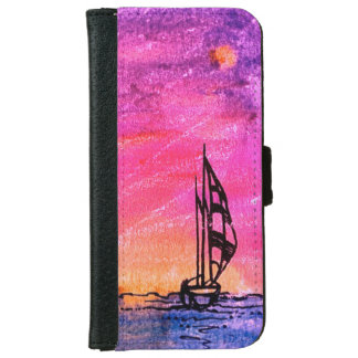 Phone wallet-case with watercolor: sunset iPhone 6 wallet case