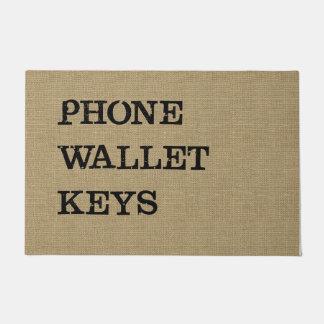 PHONE WALLET KEYS Black on Burlap Effect Doormat