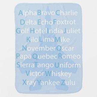 Phonetic Alphabet, Aviation Throw PIllow Baby Blanket