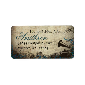 Phonograph Blue Vintage Wedding Address Label