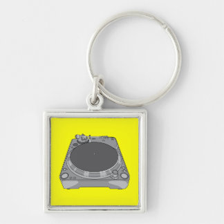 Phonograph Record Player Vintage Retro DJ Silver-Colored Square Keychain