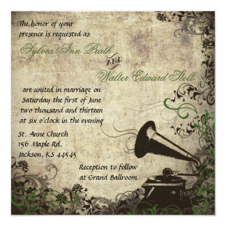 Phonograph Vintage Wedding Invitation