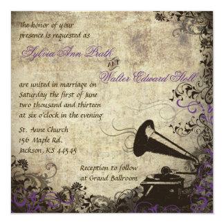 Phonograph Vintage Wedding Invitation Purple