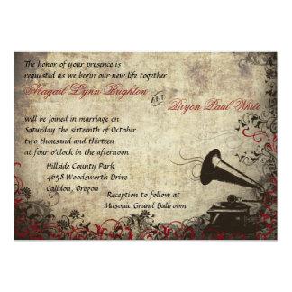 Phonograph Vintage Wedding Invitation Red