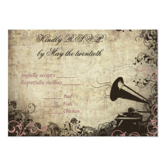 Phonograph Vintage Wedding RSVP Invitation PINK