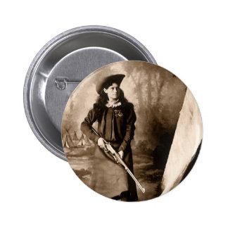 Photo 1898 de Mlle Annie Oakley Holding un fusil Badges Avec Agrafe