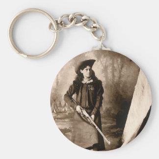 Photo 1898 de Mlle Annie Oakley Holding un fusil Porte-clé Rond