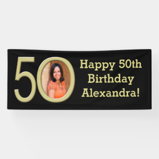 Photo 50th Birthday Party Banner Black/Gold