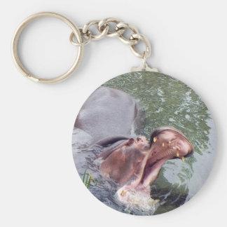 Photo affamée de bouche d'hippopotame porte-clefs