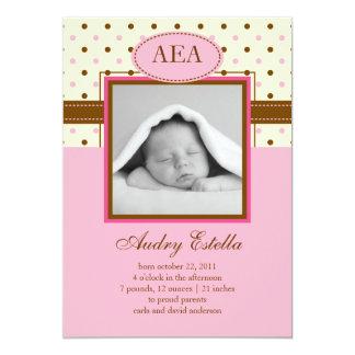 "Photo Baby Girl Birth Announcement 5"" X 7"" Invitation Card"