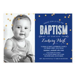 "PHOTO BAPTISM cute gold glitter confetti navy blue 5"" X 7"" Invitation Card"
