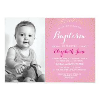 PHOTO BAPTISM cute mini gold confetti pattern pink Card