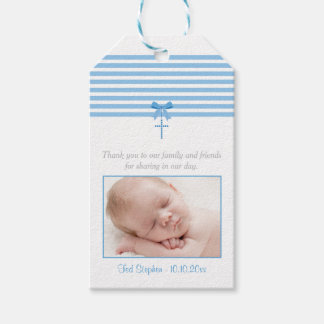 Photo Baptism Favor Gift Tag | Blue