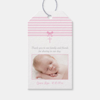 Photo Baptism Favor Gift Tag | Pink Pack Of Gift Tags