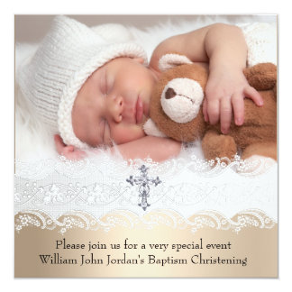 "Photo Baptism White Beige Cross Baby Girl Boy 5.25"" Square Invitation Card"