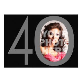 Photo Big 40 Black Gray Birthday Party Invitations