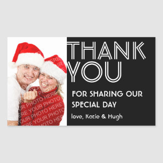 Photo big bold thank you out of town wedding label