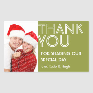 Photo big green thank you out of town wedding tag