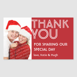 Photo big red thank you out of town wedding label