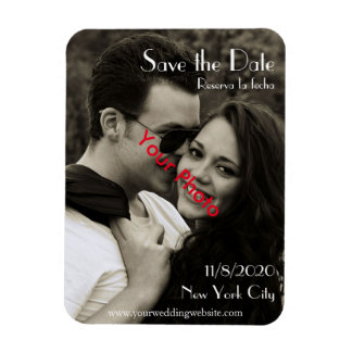 Photo Bilingual Chic Save the Date Magnet