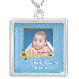 Photo Birth Annoucement Cute Baby Chick Silver Plated Necklace