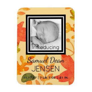 Photo Birth Announcement Autumn Leaves Fall Season Magnet