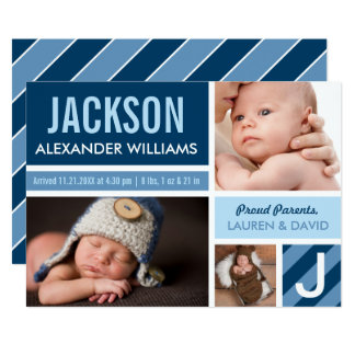 Photo Birth Announcement Card | Navy Blue Collage