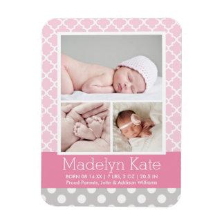 Photo Birth Announcement | Chevron Baby Girl Magnet