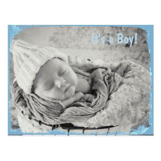 Photo Birth Announcement for Baby Boy Postcard