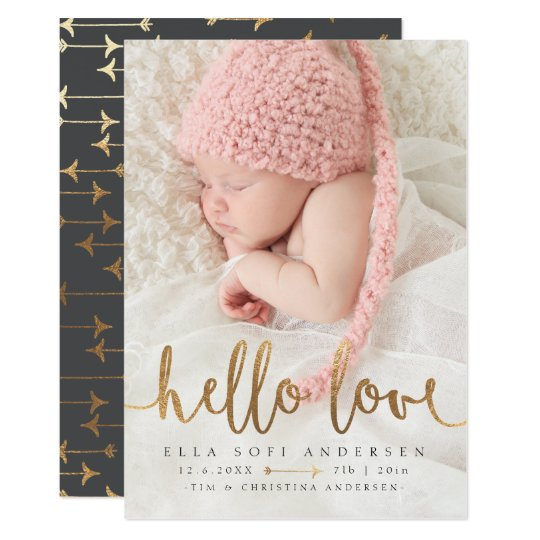 PHOTO BIRTH ANNOUNCEMENT | Girl Boho Gold Arrow