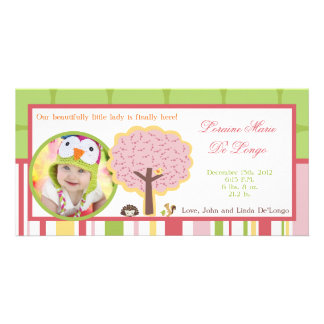 Photo Birth Announcement Love and Nature Girl Wood Photo Cards