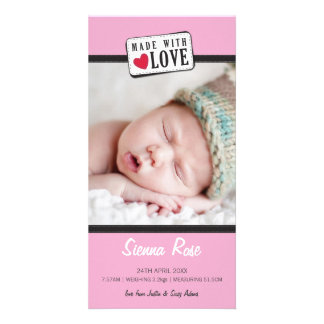 PHOTO BIRTH ANNOUNCEMENT :: made with love 5 Photo Cards