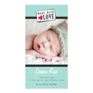 PHOTO BIRTH ANNOUNCEMENT :: made with love 6 Custom Photo Card