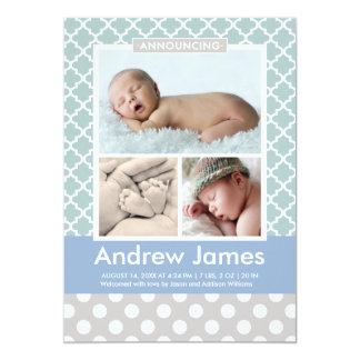 Photo Birth Announcement   Modern Pattern Baby Boy