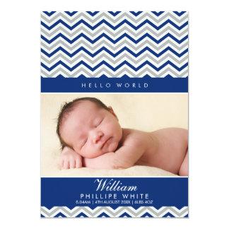 PHOTO BIRTH ANNOUNCEMENT  sweet chevron royal blue