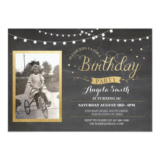 Photo Birthday Chalk Lights Rustic Gold Invites