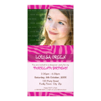 PHOTO BIRTHDAY INVITATIONS :: animal print 3 Customized Photo Card