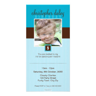 PHOTO BIRTHDAY INVITATIONS :: lovely square 8 Picture Card