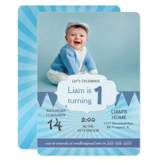 Photo Birthday Party Invitation   Carnival BLUE