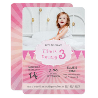 Photo Birthday Party Invitation | Carnival pink
