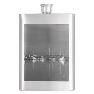 photo black and white, boats hip flask