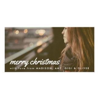 Photo blanche de Noël de typographie de Joyeux Photocartes