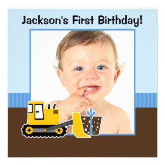 Photo bleue de garçon d anniversaire de Brown de c Invitations Personnalisées