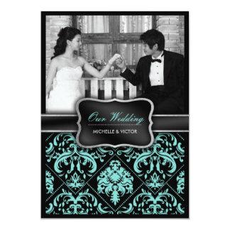Photo bleue et noire d'Aqua élégant de mariage Invitations Personnalisées