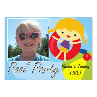 Photo Blond Girl Pool Party Swimming Birthday Card