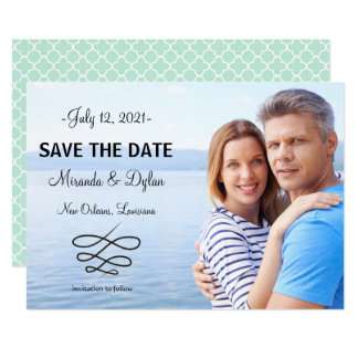 Photo Blue Quatrefoil - Save the Date Card