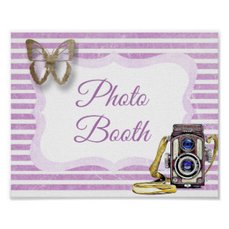 Photo Booth Sign Purple Butterfly Poster