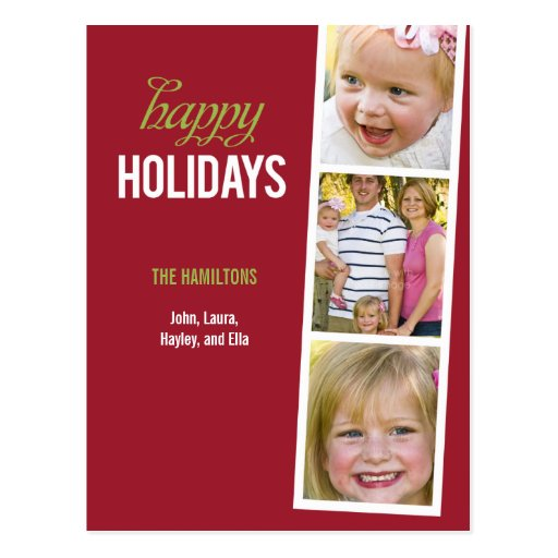 Photo Booth Style Holiday Photo Card Postcard Postcard
