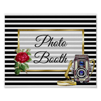 Photo Booth Wedding Sign Red Rose poster