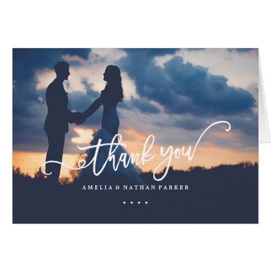 Photo Calligraphy Script Wedding Thank You Card